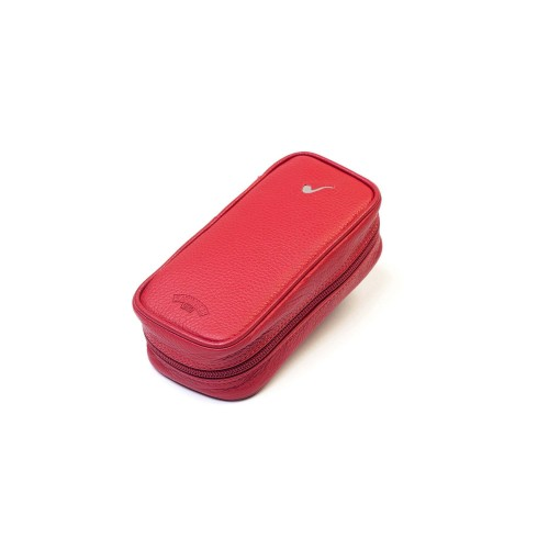 Leather pouch for 3 pipes and accessories - Red