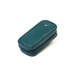 Leather pouch for 3 pipes and accessories - Green