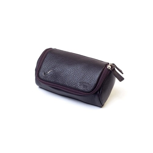 Leather pouch for 2 pipes and accessories - Brown