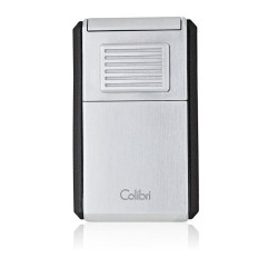 Colibri 3 - Jetflame Lighter Astoria - satin chrome and black finish - with cigar cutter