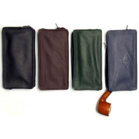 Borsa MPB in pelle all'anilina per pipa, tabacco e accessori - colori vari
