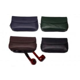 Bolsa MPB en piel para 2 pipas, tabaco y accessorios