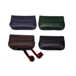 MPB leather pouch for 2 pipes, tobacco and accessories