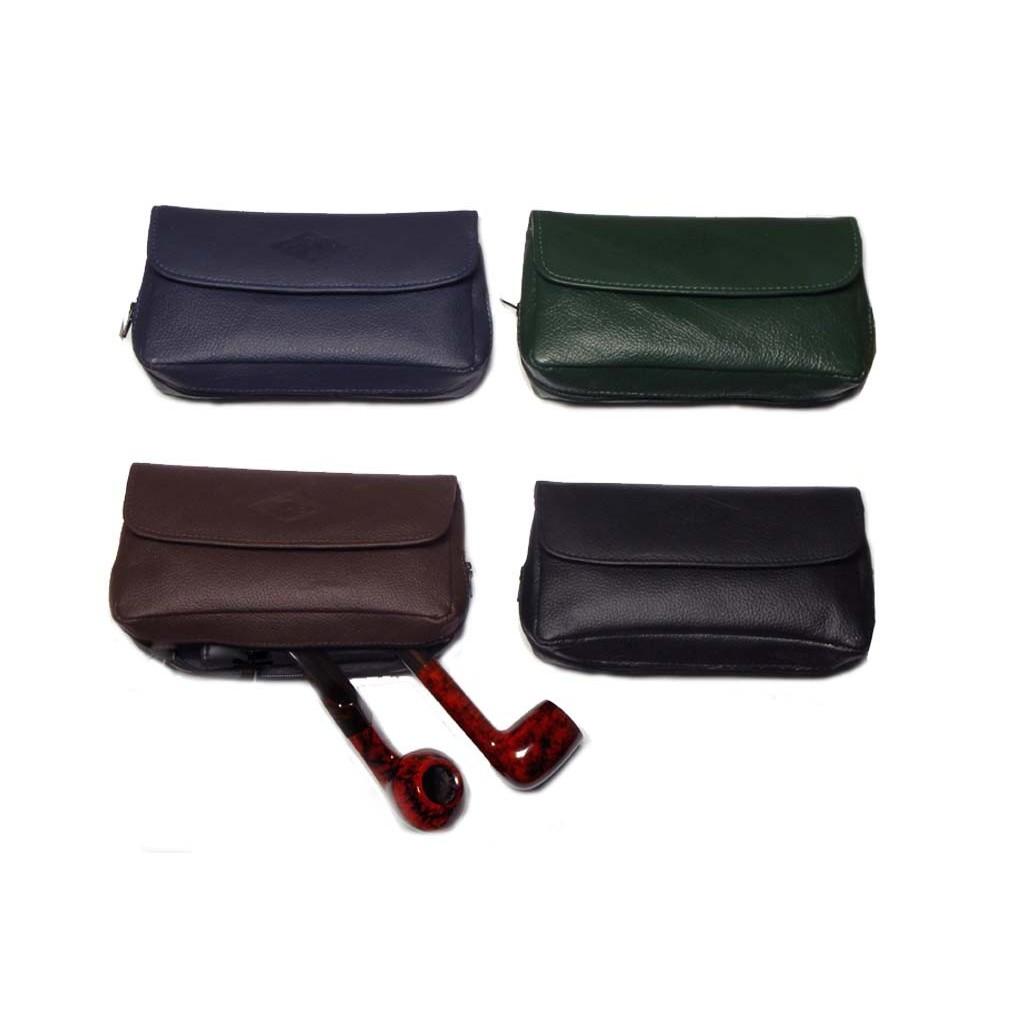 Borsa MPB in pelle all'anilina per 2 pipe, tabacco e accessori - colori vari