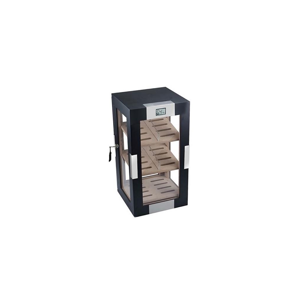 Vetrinetta per sigari nero mat con 3 piani e igrometro digitale