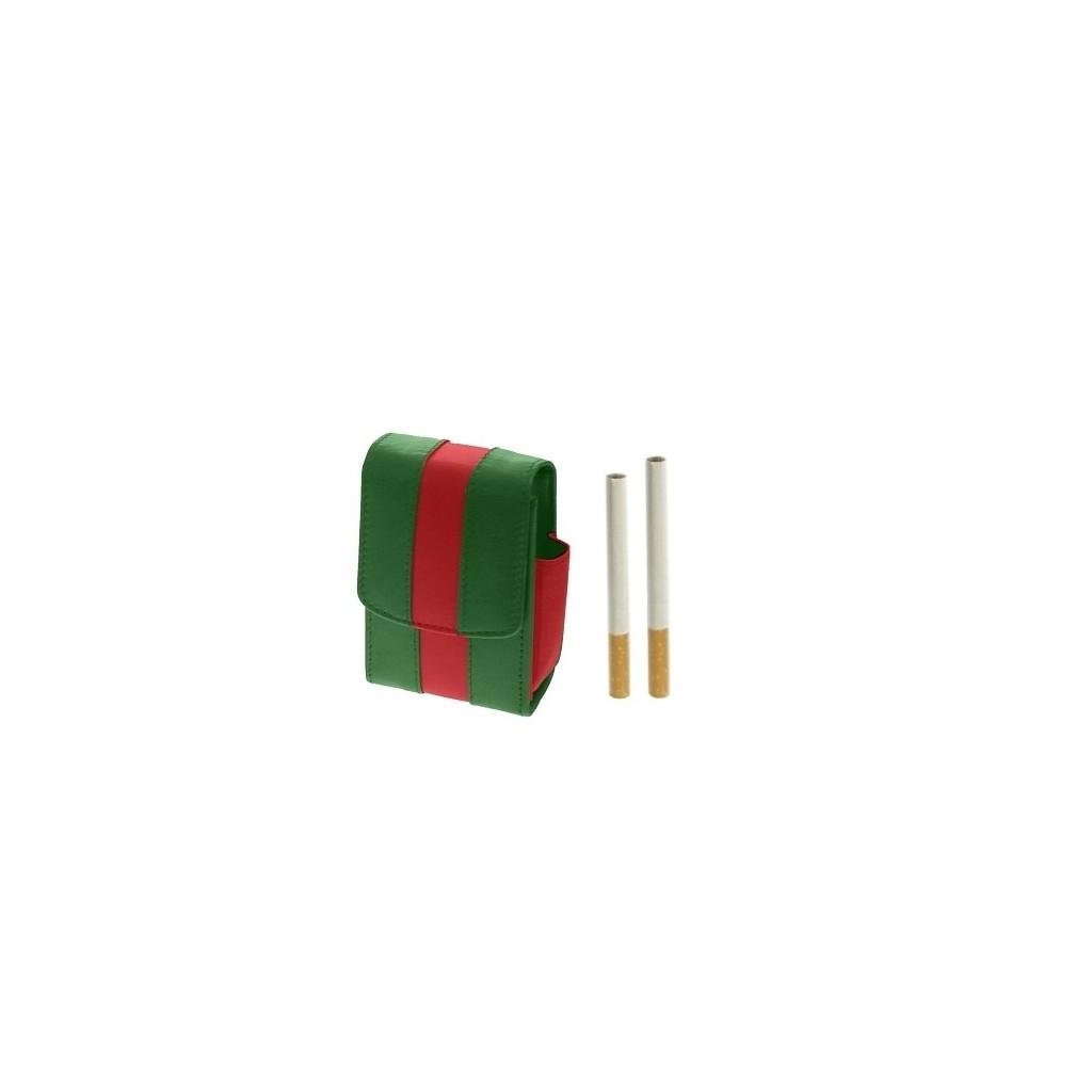 Portapacchetto con porta accendino in pelle bicolore - Verde / Rosso