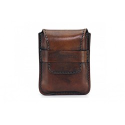 Leather sewn by hand cigar case Stortignaccolo for 4 Scorciato - Tan