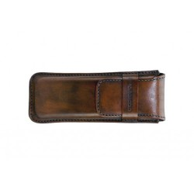 Leather sewn by hand cigar case for 3 Stortignaccolo - Tan