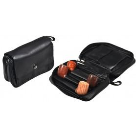 Trousse en piel negra para 4 pipas, tabaco y accessorios Magnet Line