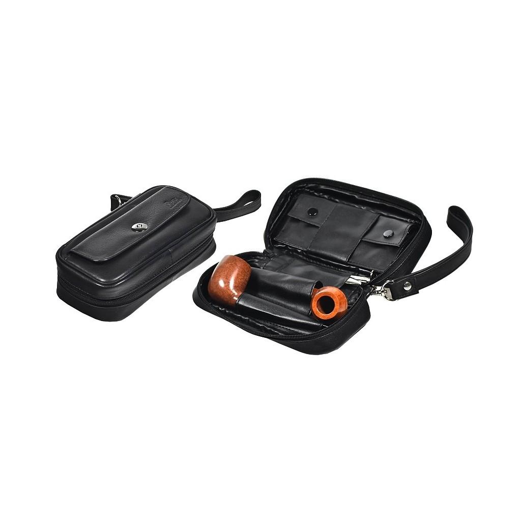 Trousse in nappa per 2 pipe, accessori e portatabacco estraibile Magnet Line