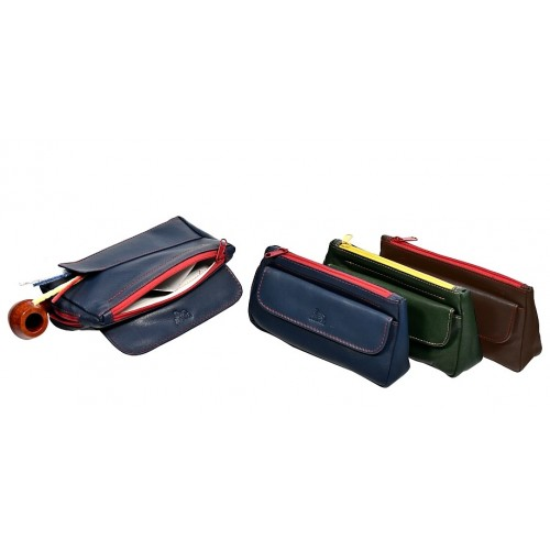 Leather pouch for pipe, tobacco and accessories ColorZip