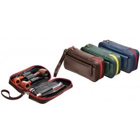 Trousse pour 3 pipe, tabac et accessoires en cuir ColorZip