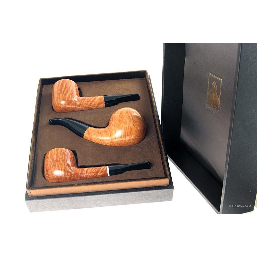 Cofanetto in pelle Castello con 3 pipe Castello Collection