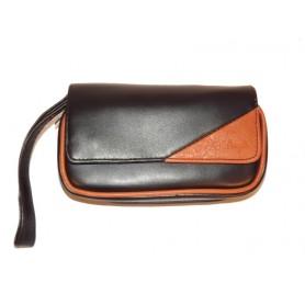 Bolsa en imitación piel para 2 pipas, tabaco y accessorios - Brown Triangle