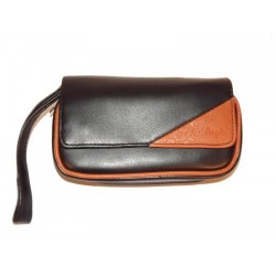 "Imitation Leather pouch for 2 pipes, tobacco and accessories ""Brown Triangle"""