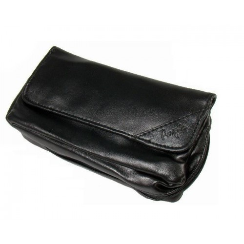 """Imitation Leather pouch for 1 pipe, tobacco and accessories """"Black"""""""