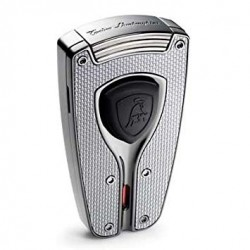 Tonino Lamborghini Forza Silver Carbon Fiber Torch Flame Lighter