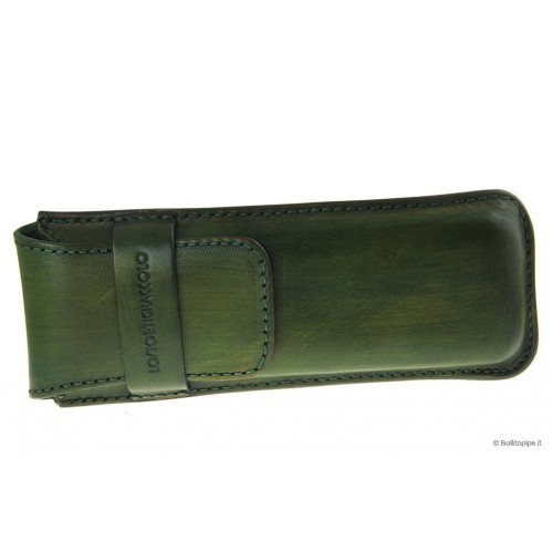 Leather sewn by hand cigar case for 3 Stortignaccolo - Green