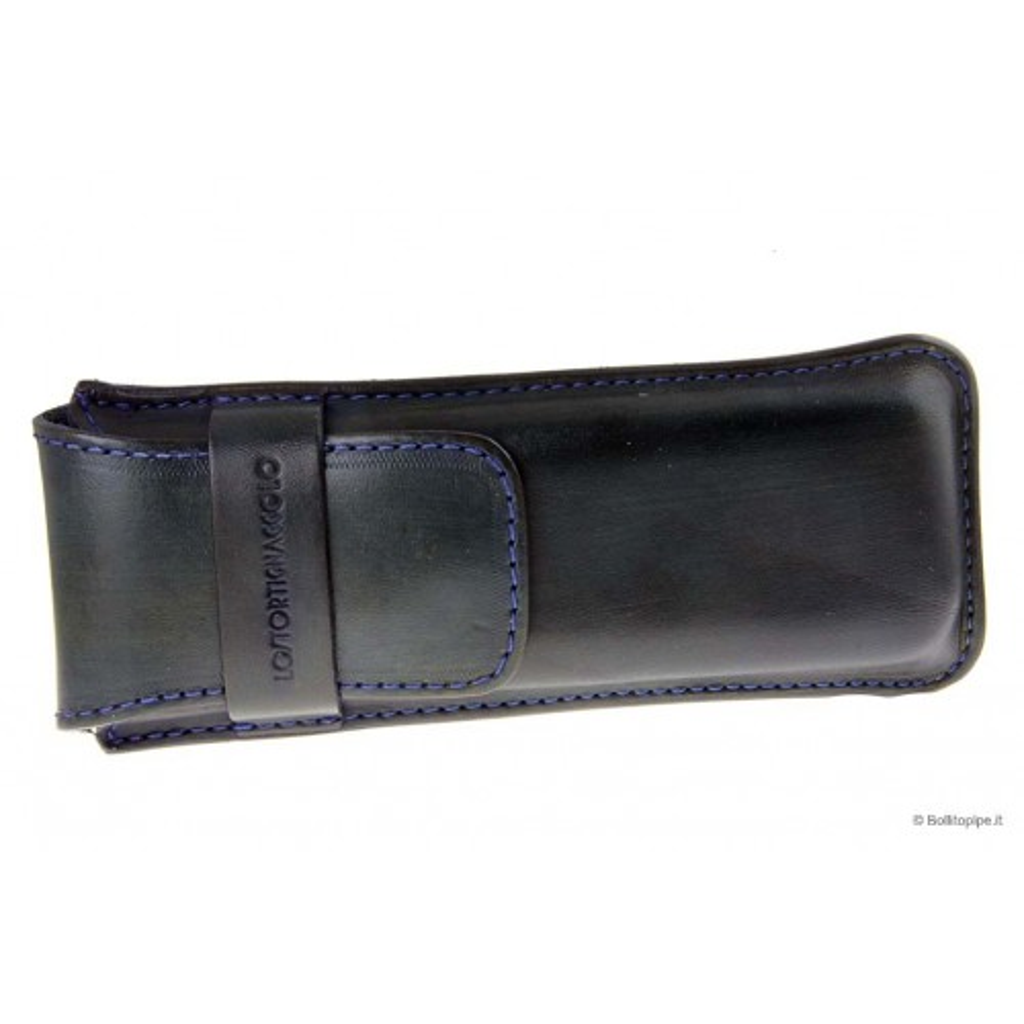 Leather sewn by hand cigar case for 3 Stortignaccolo - Blue