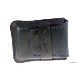 Leather sewn by hand cigar case Stortignaccolo for 4 Scorciato - Blue