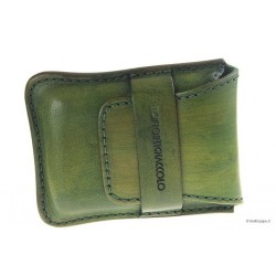 Leather sewn by hand cigar case Stortignaccolo for 4 Scorciato - Green