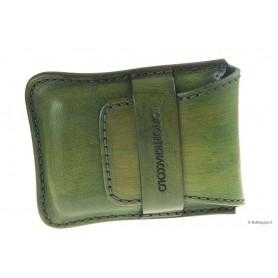Portasigari Stortignaccolo in cuoio cucito 4 Scorciati - Verde