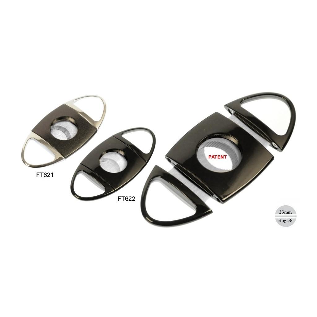 Coupe cigares crome avec 2 lame - ring 58 - Noir / Chrome