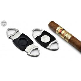 """Coupe cigares """"Ellisse easy cut"""" avec 2 lame - ecier et noir"""