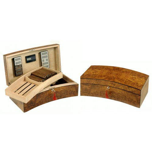 """Arch"" Humidor in golden elm with tray and digital higro"