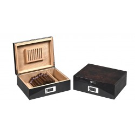 Caves pour 60 cigares en noix avec avec hygromètre digital - Boveda