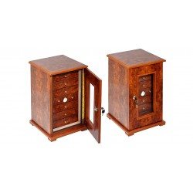 Cabinet en orme burl cigare 5 ou 7 tiroirs