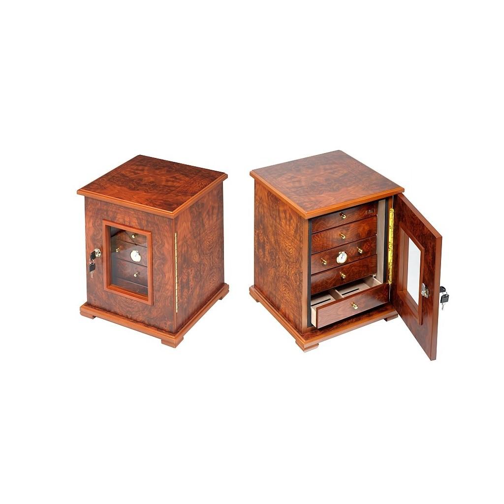 Cigar cabinet 5 or 7 drawers -elm briar high polished
