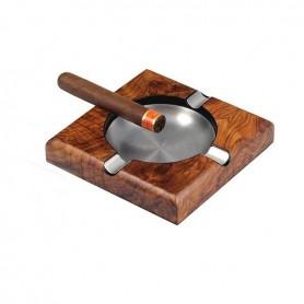 Square pipe / cigar ashtray - elm mat
