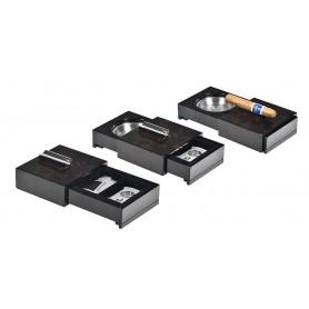 Posacenere per sigaro scorrevole con porta oggetti - radica di noce
