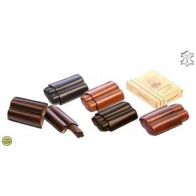 Porte-cigares en cuir pour 2 Toscano