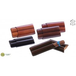 Fingered leather cigar case for 2 Robustos cigars