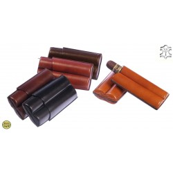 Fingered leather cigar case for 2 Double Robusto cigars