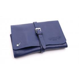 Bolsa en piel para 4 pipas y accessorios - Azul