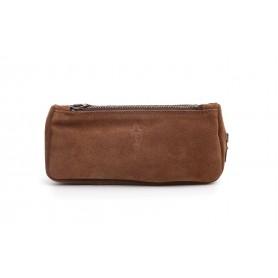 Borsa Savinelli in pelle scamosciata marrone per una pipa, accessori e tabacco
