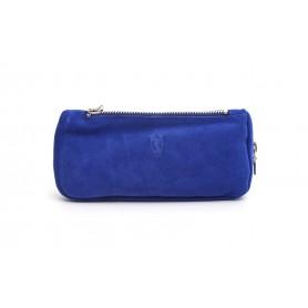 Borsa Savinelli in pelle scamosciata blu per una pipa, accessori e tabacco