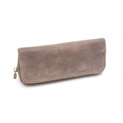 Savinelli pouch taupe leather for 1 pipe, tobacco and accessories