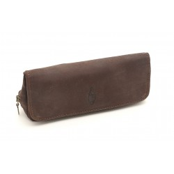 Savinelli pouch brown leather for 1 pipe, tobacco and accessories