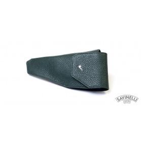 Astuccio - Fondina portapipe in pelle martellata verde