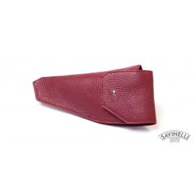 Bolsa Savinelli en piel par pipa - Rojo