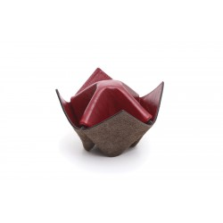 """Pipes and items holder Savinelli """"Origami"""" in leather - Brown & Amaranth"""