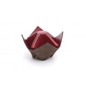 """Soporte para pipas y objetos Savinelli """"Origami"""" en cuero - marrón y amaranto"""