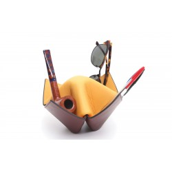 """Pipes and items holder Savinelli """"Origami"""" in leather - Yellow & Bordeaux"""