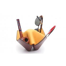 """Soporte para pipas y objetos Savinelli """"Origami"""" en cuero - amarillo y bordeaux"""