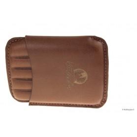 Leather sewn by hand cigar case Stortignaccolo for 5 Scorciato - Tan
