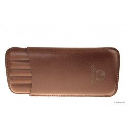 Leather sewn by hand cigar case Long for 5 Toscano - Tan